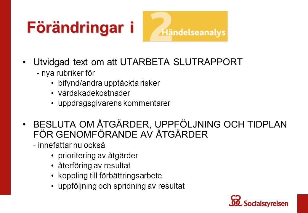 Förändringar i Utvidgad text om att UTARBETA SLUTRAPPORT