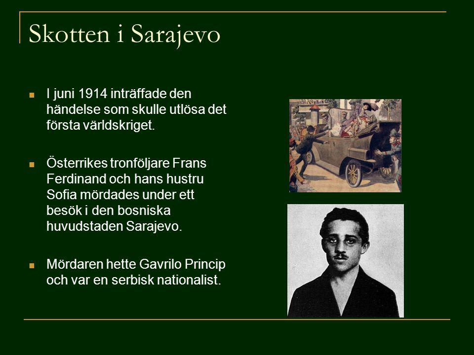Skotten i Sarajevo I juni 1914 inträffade den händelse som skulle utlösa det första världskriget.