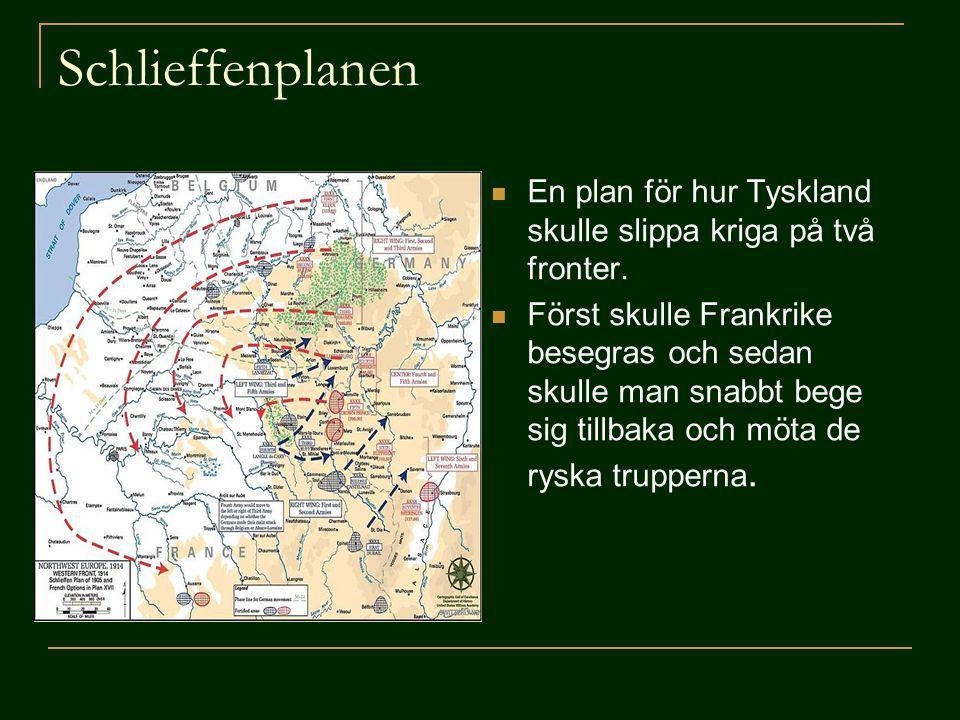 Schlieffenplanen En plan för hur Tyskland skulle slippa kriga på två fronter.