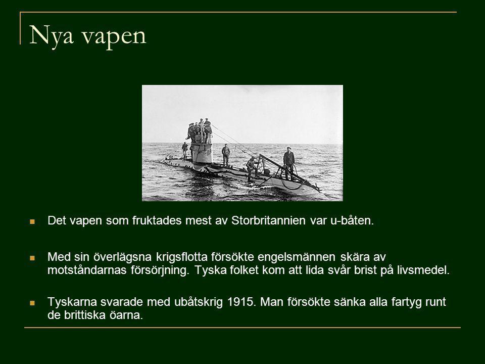 Nya vapen Det vapen som fruktades mest av Storbritannien var u-båten.