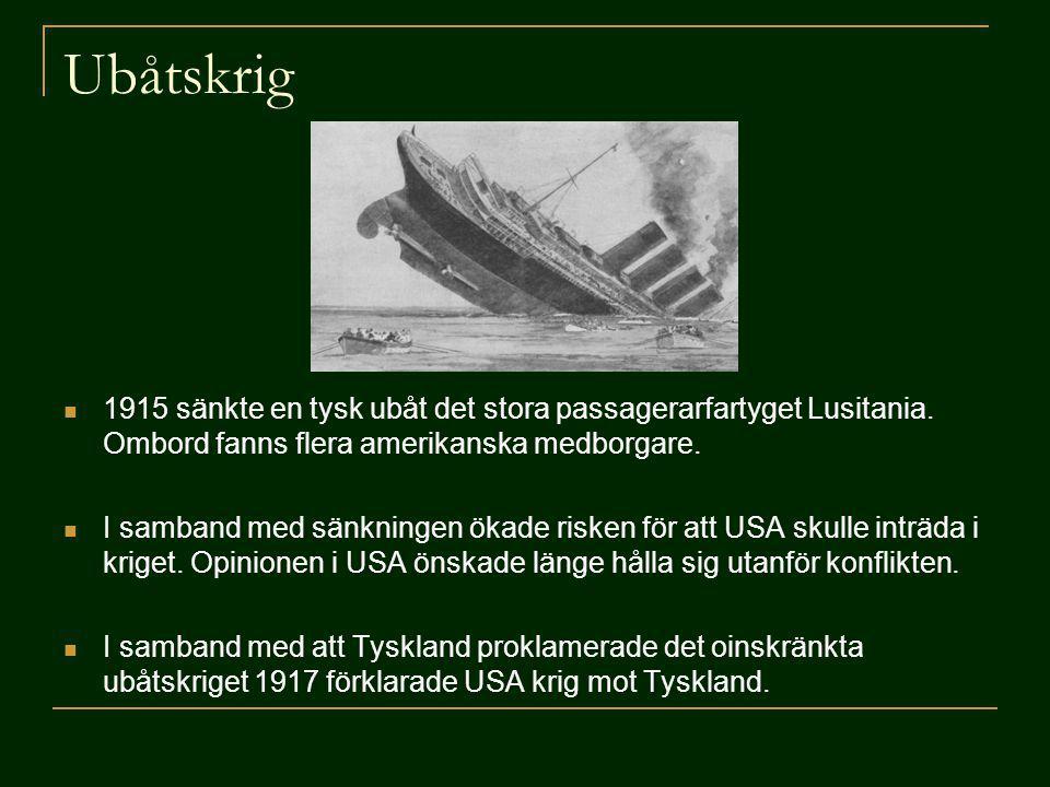 Ubåtskrig 1915 sänkte en tysk ubåt det stora passagerarfartyget Lusitania. Ombord fanns flera amerikanska medborgare.