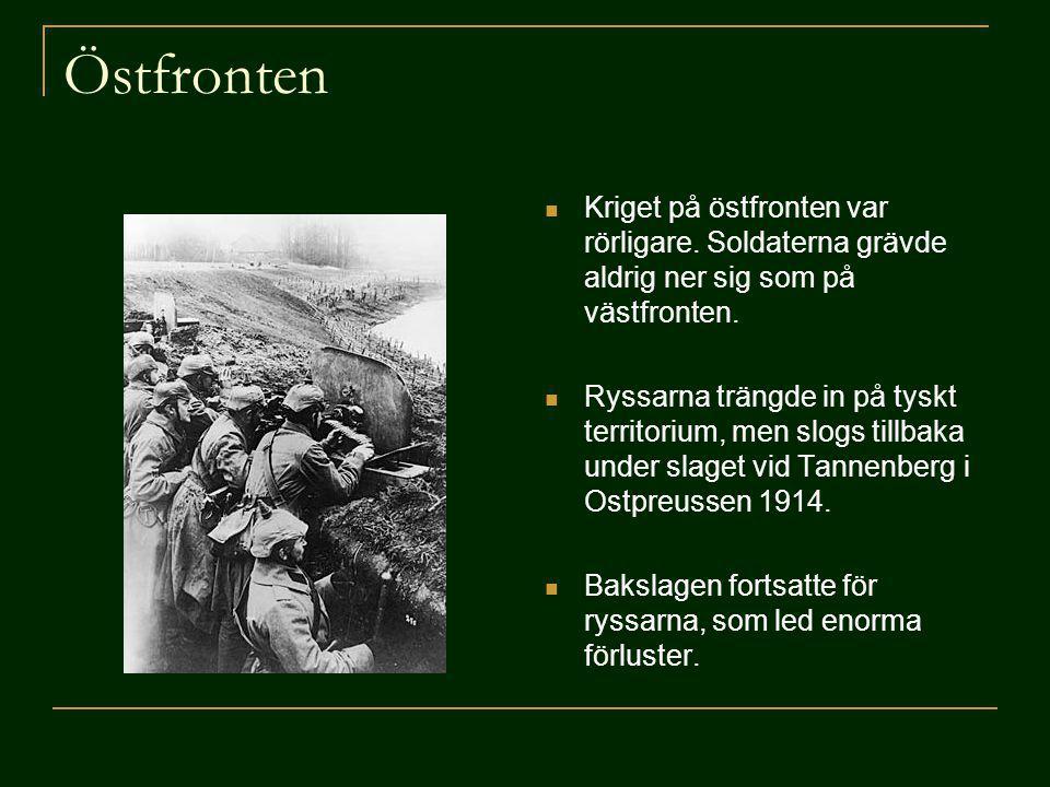 Östfronten Kriget på östfronten var rörligare. Soldaterna grävde aldrig ner sig som på västfronten.