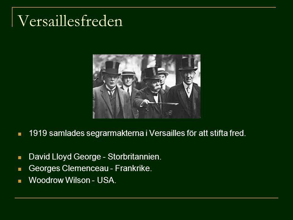Versaillesfreden 1919 samlades segrarmakterna i Versailles för att stifta fred. David Lloyd George - Storbritannien.