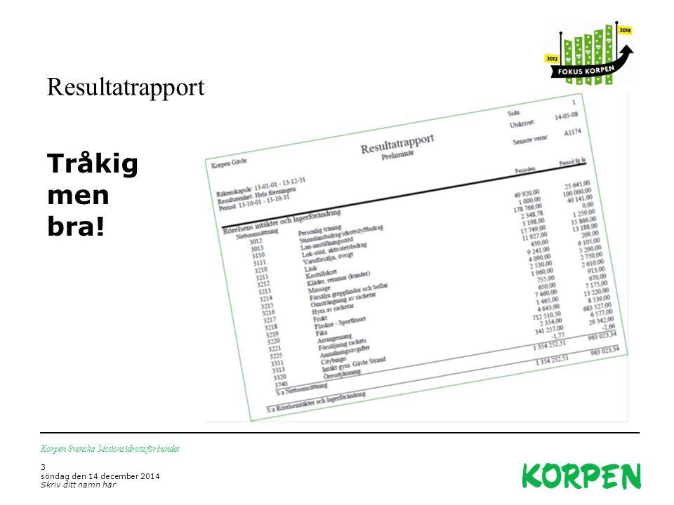 Resultatrapport Tråkig men bra! Korpen Svenska Motionsidrottsförbundet