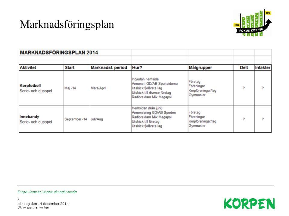 Marknadsföringsplan Korpen Svenska Motionsidrottsförbundet