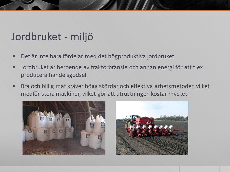 Jordbruket - miljö Det är inte bara fördelar med det högproduktiva jordbruket.