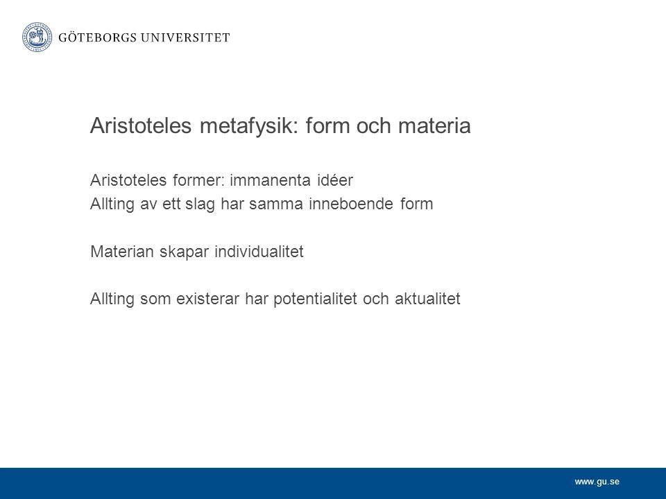 Aristoteles metafysik: form och materia