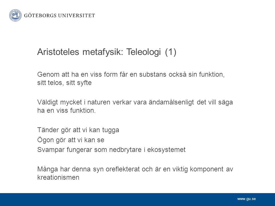 Aristoteles metafysik: Teleologi (1)