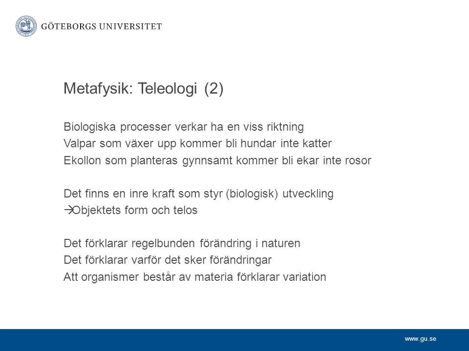 Metafysik: Teleologi (2)