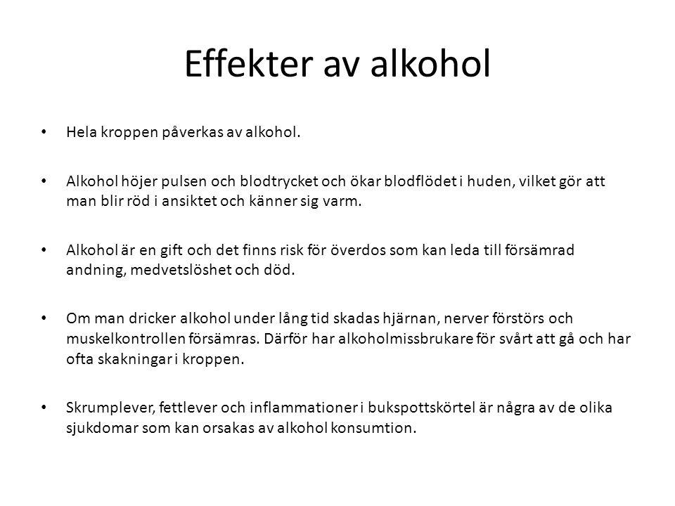 Effekter av alkohol Hela kroppen påverkas av alkohol.