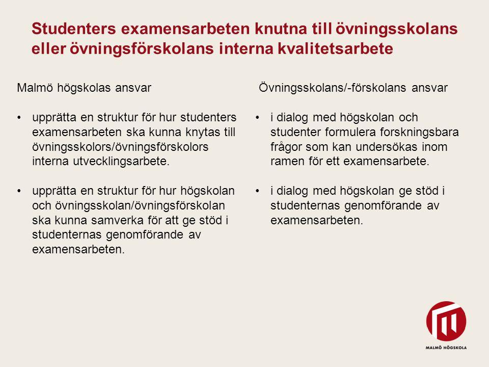 Studenters examensarbeten knutna till övningsskolans eller övningsförskolans interna kvalitetsarbete