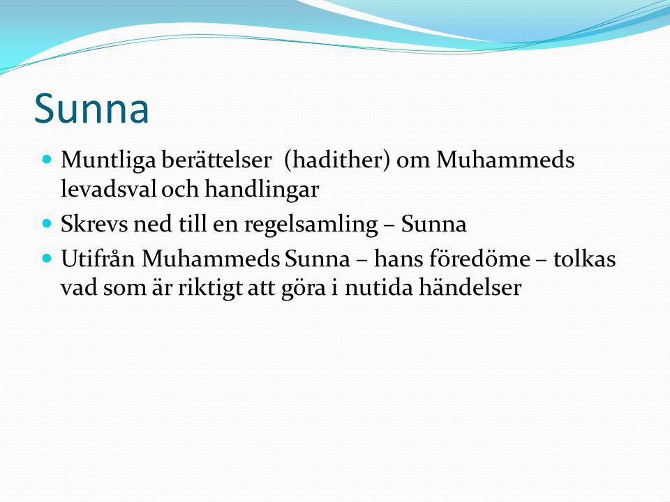 Sunna Muntliga berättelser (hadither) om Muhammeds levadsval och handlingar. Skrevs ned till en regelsamling – Sunna.