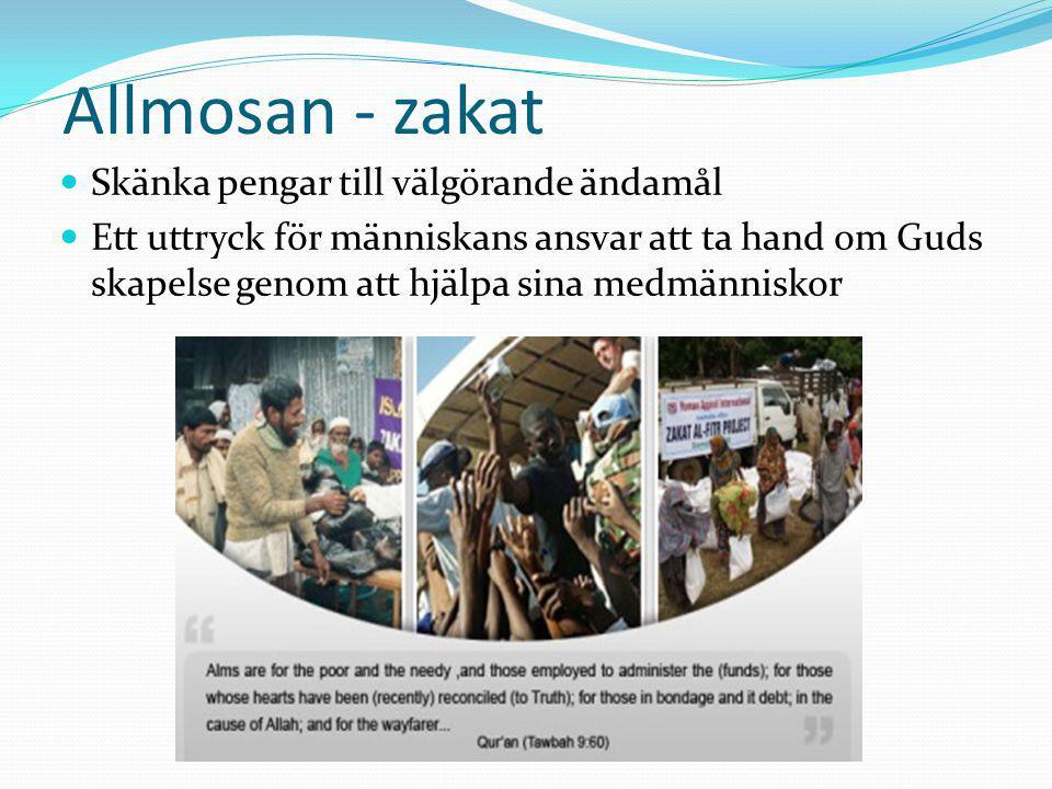Allmosan - zakat Skänka pengar till välgörande ändamål