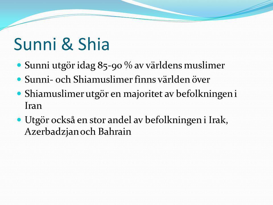 Sunni & Shia Sunni utgör idag 85-90 % av världens muslimer