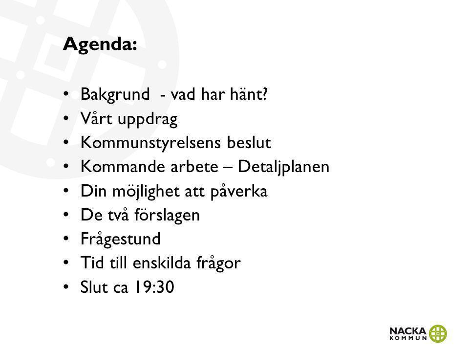 Agenda: Bakgrund - vad har hänt Vårt uppdrag Kommunstyrelsens beslut