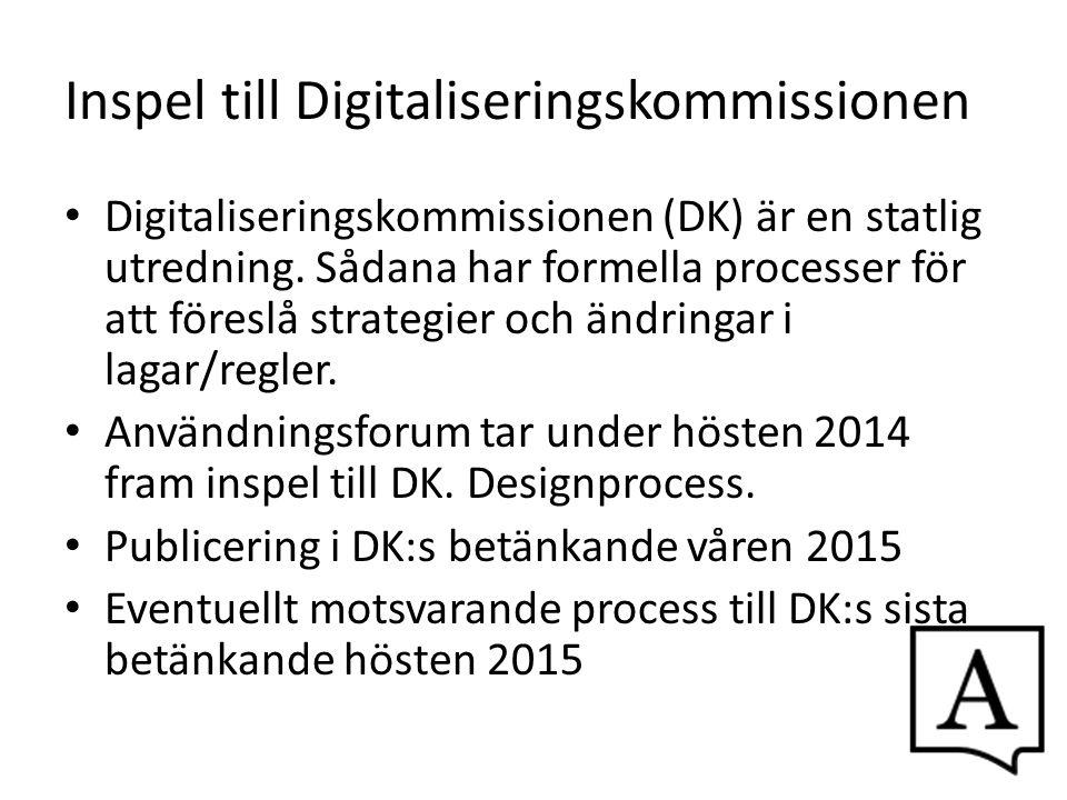 Inspel till Digitaliseringskommissionen