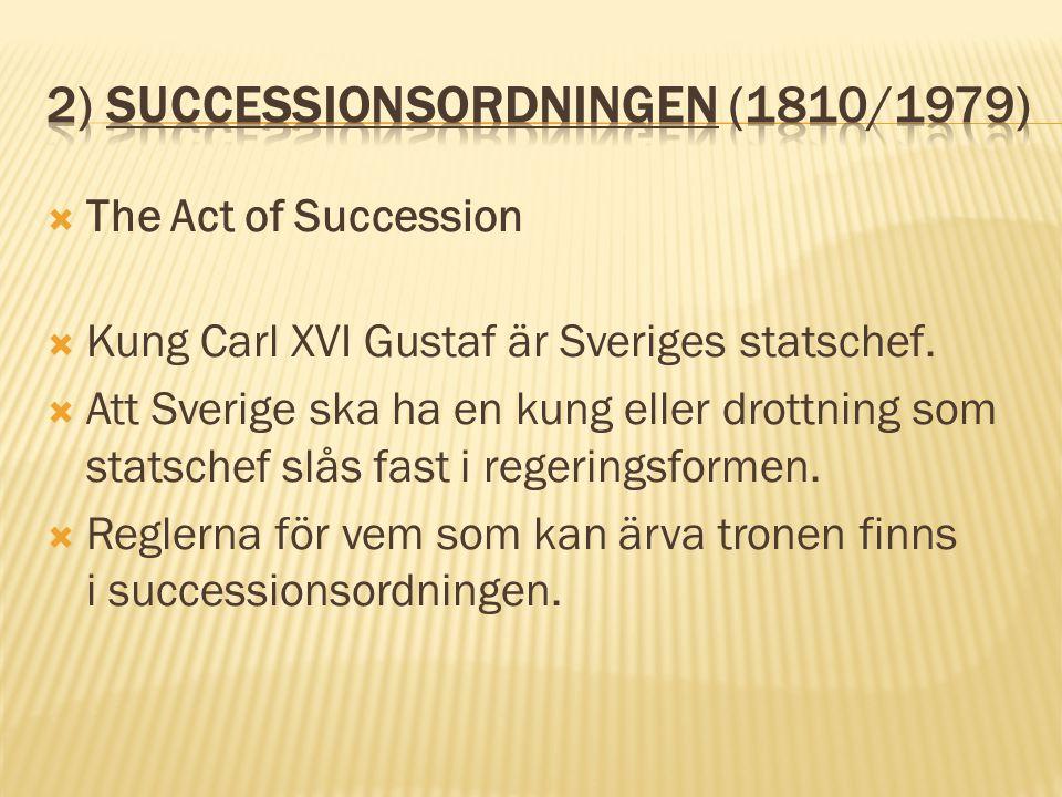 2) Successionsordningen (1810/1979)