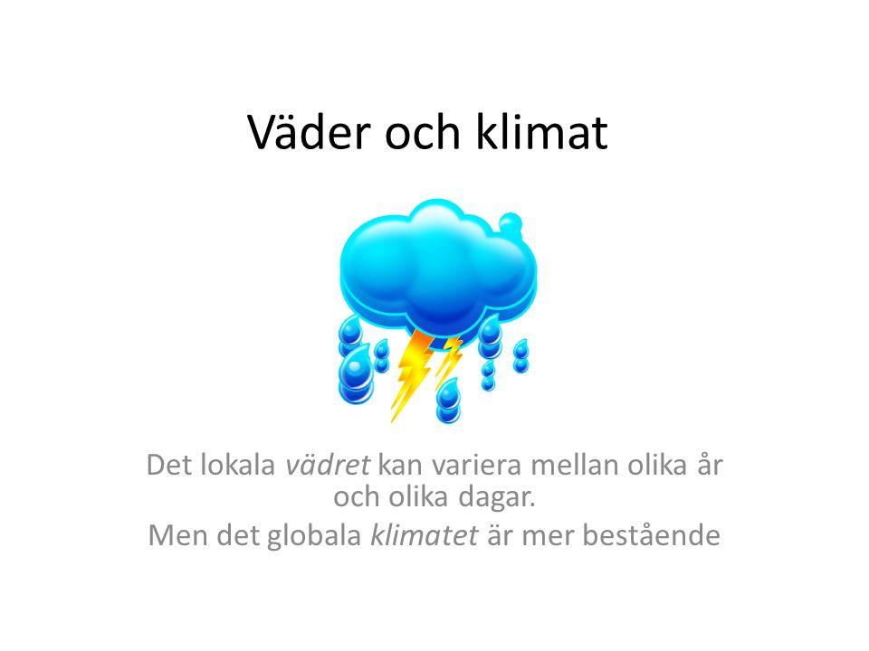 Väder och klimat Det lokala vädret kan variera mellan olika år och olika dagar.