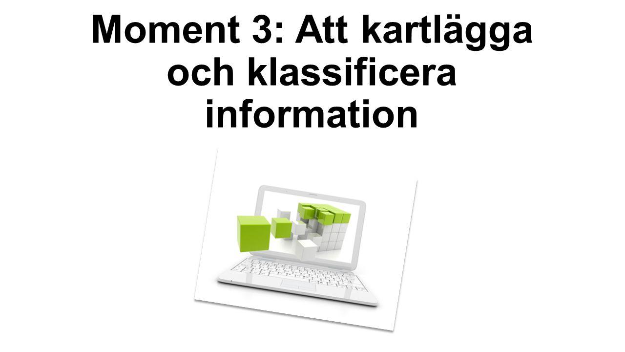 Moment 3: Att kartlägga och klassificera information