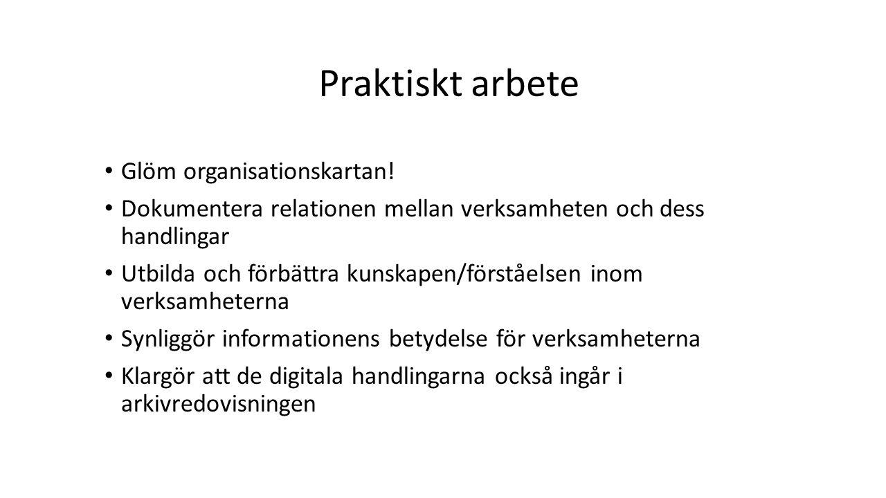 Praktiskt arbete Glöm organisationskartan!
