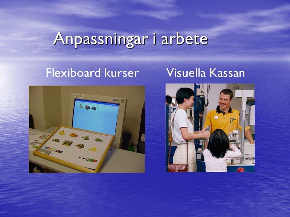 Anpassningar i arbete Flexiboard kurser Visuella Kassan