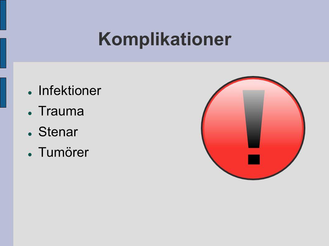 Komplikationer Infektioner Trauma Stenar Tumörer