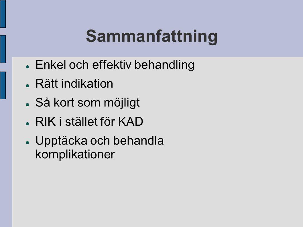 Sammanfattning Enkel och effektiv behandling Rätt indikation