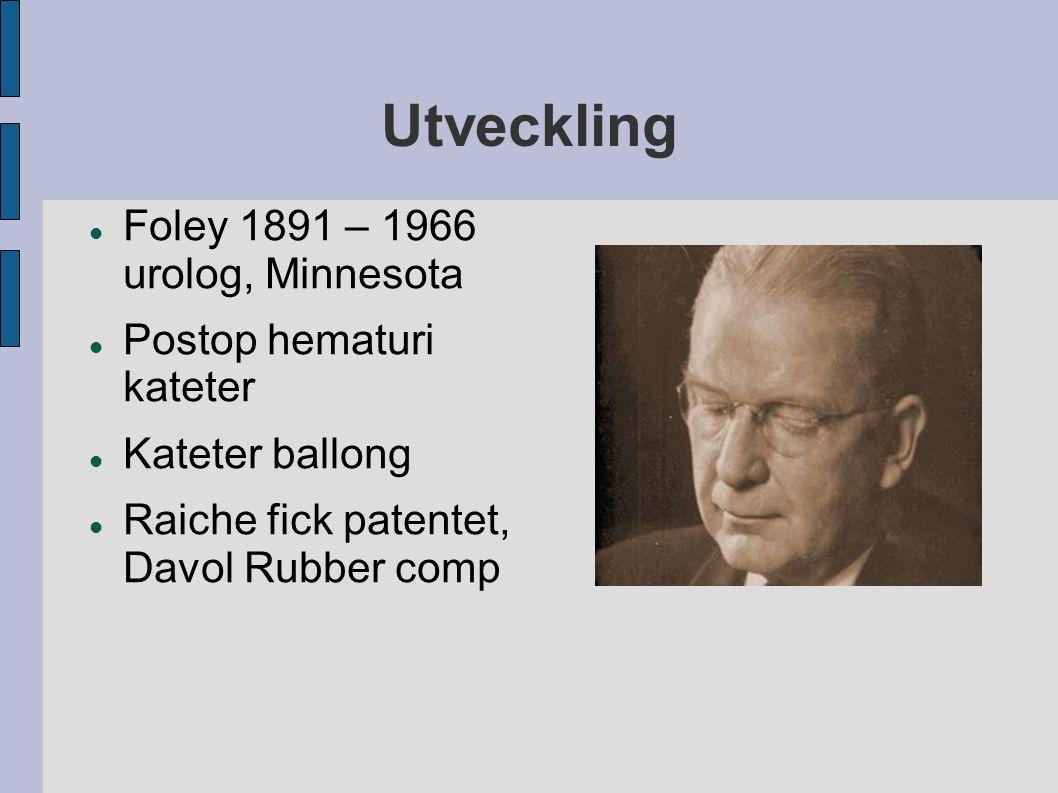 Utveckling Foley 1891 – 1966 urolog, Minnesota Postop hematuri kateter