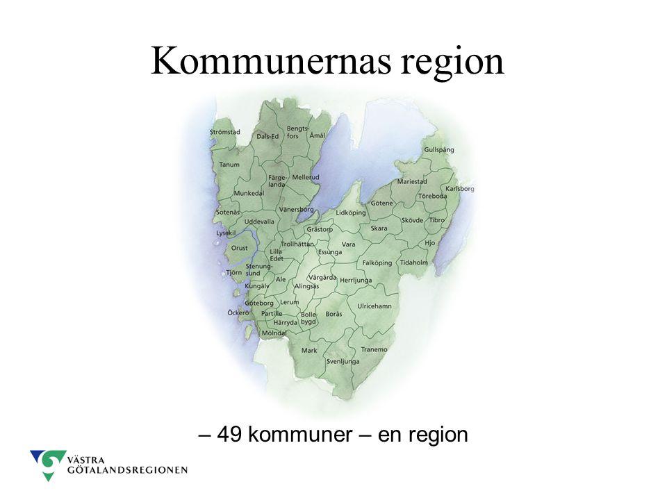 Kommunernas region Flytta ner kartan – 49 kommuner – en region