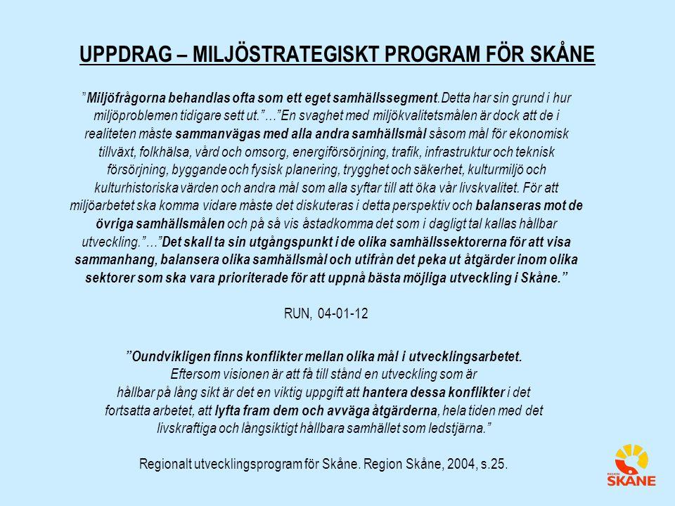 UPPDRAG – MILJÖSTRATEGISKT PROGRAM FÖR SKÅNE