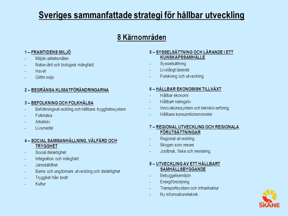 Sveriges sammanfattade strategi för hållbar utveckling 8 Kärnområden