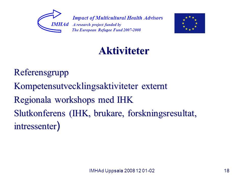 Aktiviteter Referensgrupp Kompetensutvecklingsaktiviteter externt