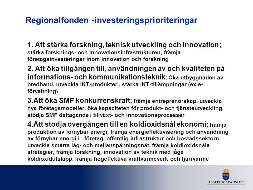 Regionalfonden -investeringsprioriteringar