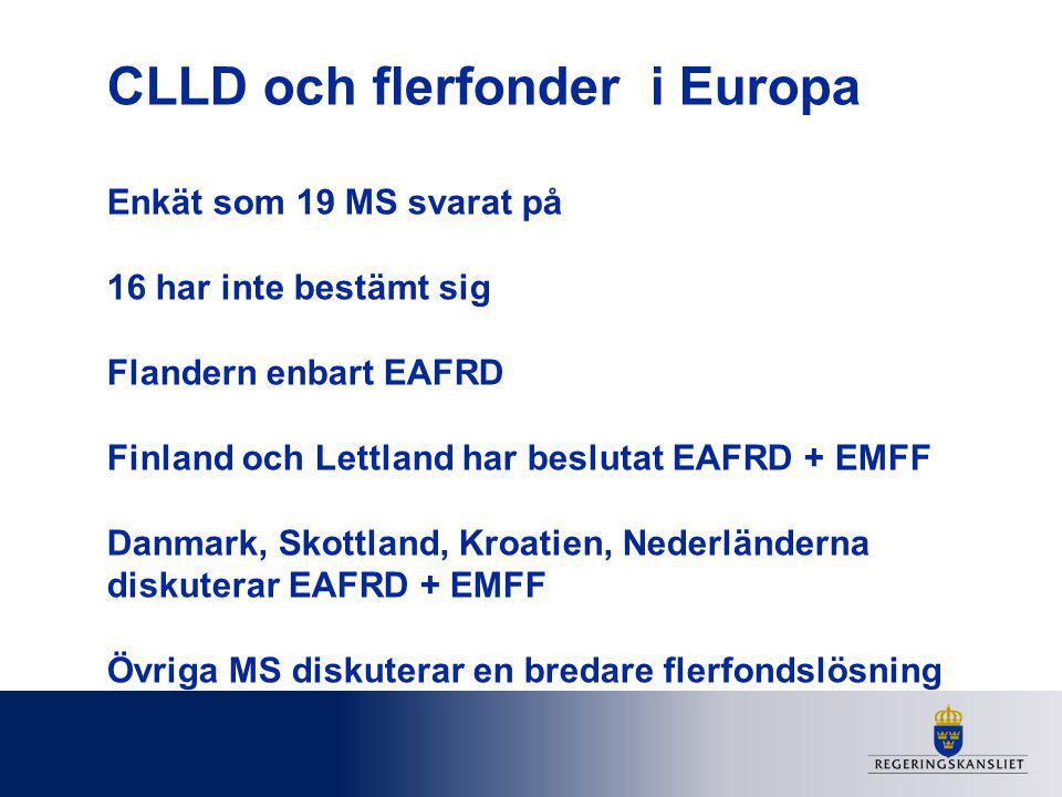 CLLD och flerfonder i Europa Enkät som 19 MS svarat på 16 har inte bestämt sig Flandern enbart EAFRD Finland och Lettland har beslutat EAFRD + EMFF Danmark, Skottland, Kroatien, Nederländerna diskuterar EAFRD + EMFF Övriga MS diskuterar en bredare flerfondslösning