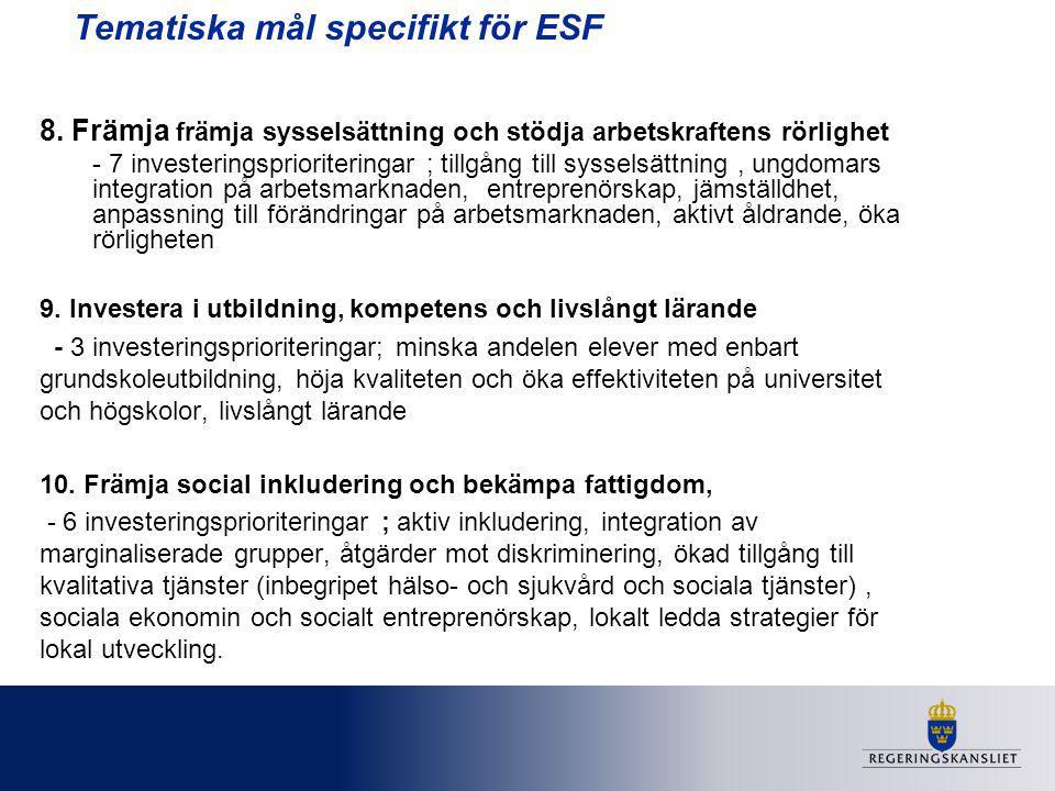 Tematiska mål specifikt för ESF