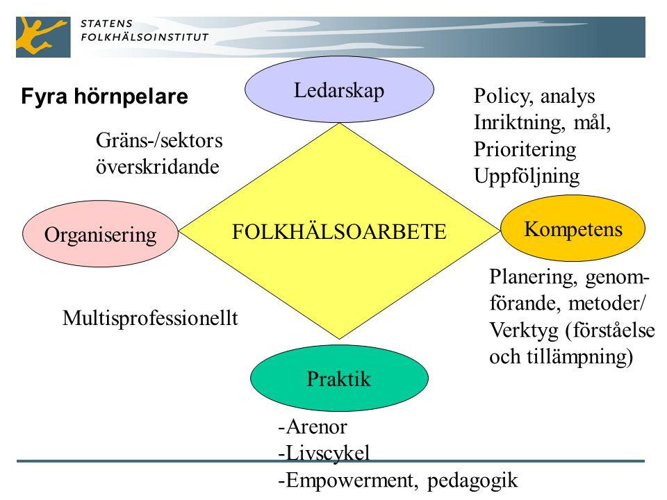 Ledarskap Fyra hörnpelare. Policy, analys. Inriktning, mål, Prioritering. Uppföljning. Gräns-/sektors.