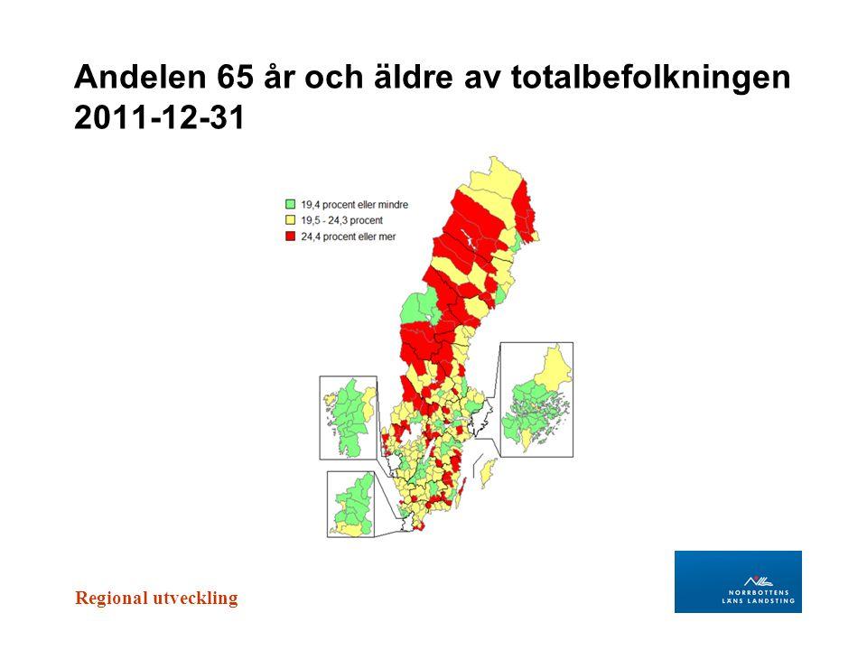 Andelen 65 år och äldre av totalbefolkningen 2011-12-31