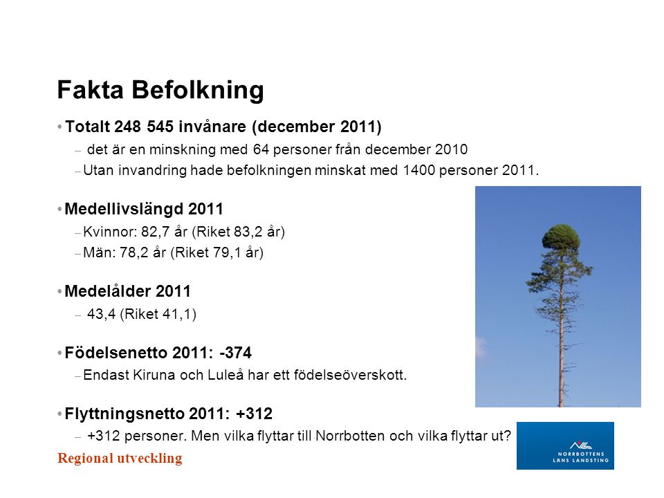 Fakta Befolkning Totalt 248 545 invånare (december 2011)