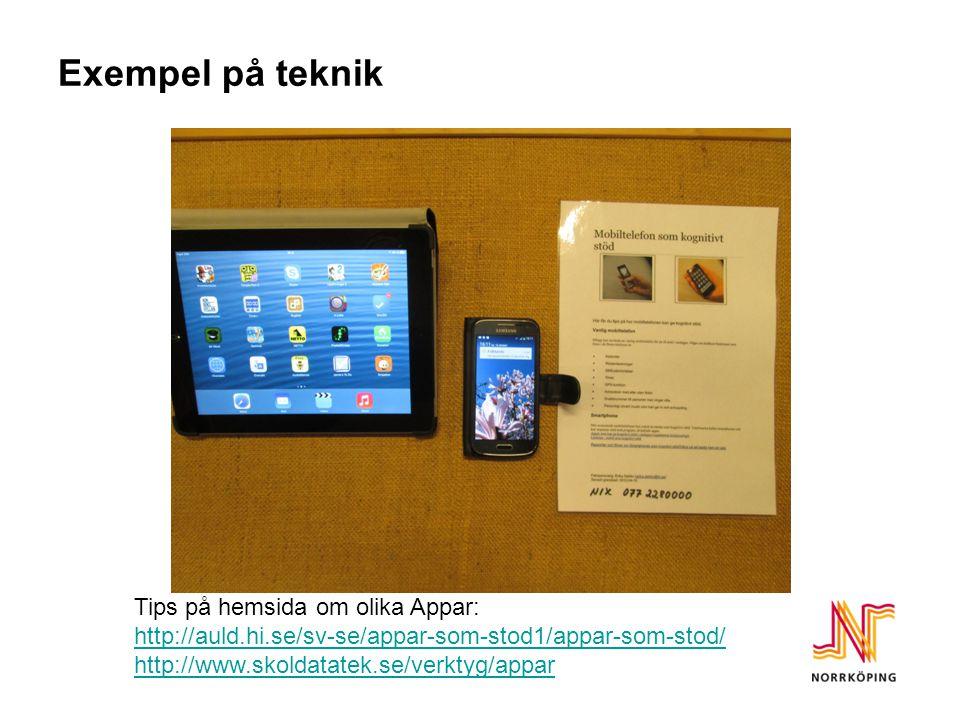 Exempel på teknik Tips på hemsida om olika Appar: