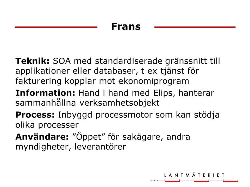 Frans Teknik: SOA med standardiserade gränssnitt till applikationer eller databaser, t ex tjänst för fakturering kopplar mot ekonomiprogram.