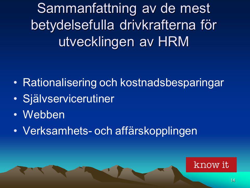 Sammanfattning av de mest betydelsefulla drivkrafterna för utvecklingen av HRM