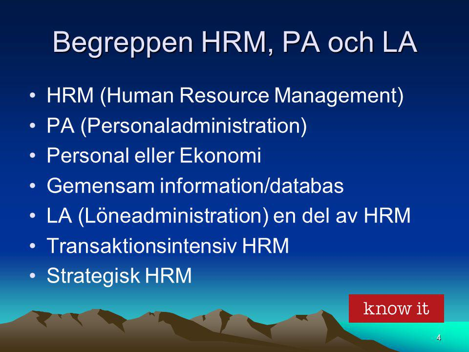 Begreppen HRM, PA och LA HRM (Human Resource Management)