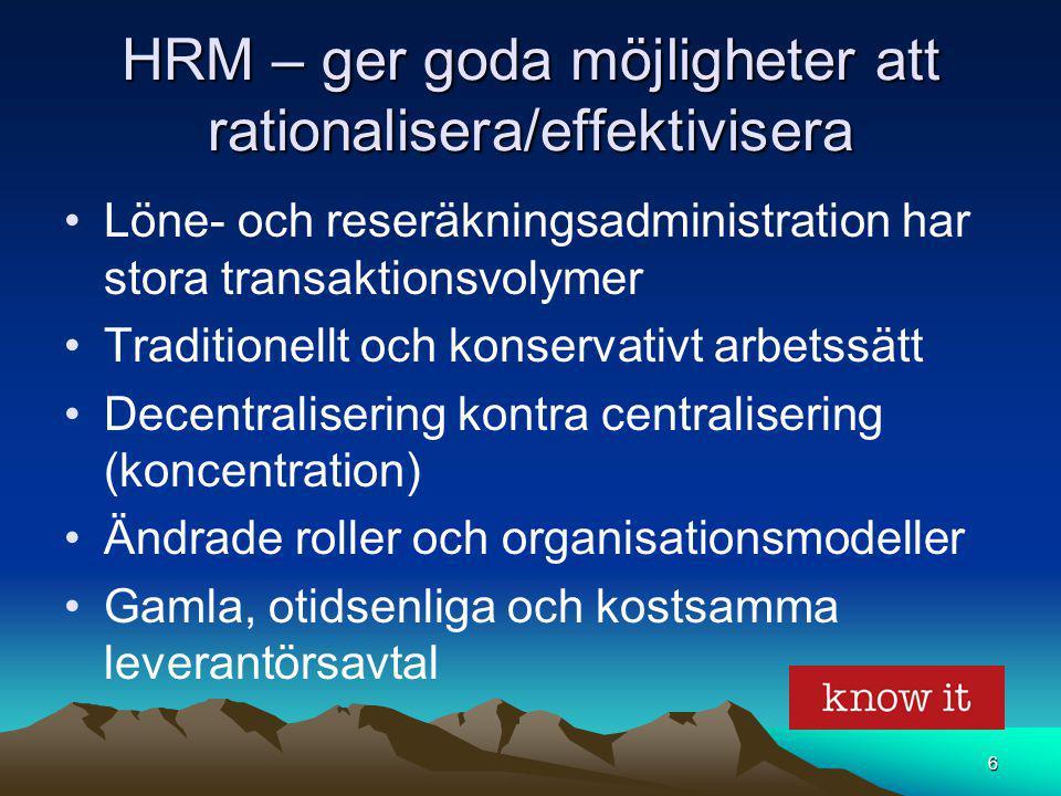 HRM – ger goda möjligheter att rationalisera/effektivisera