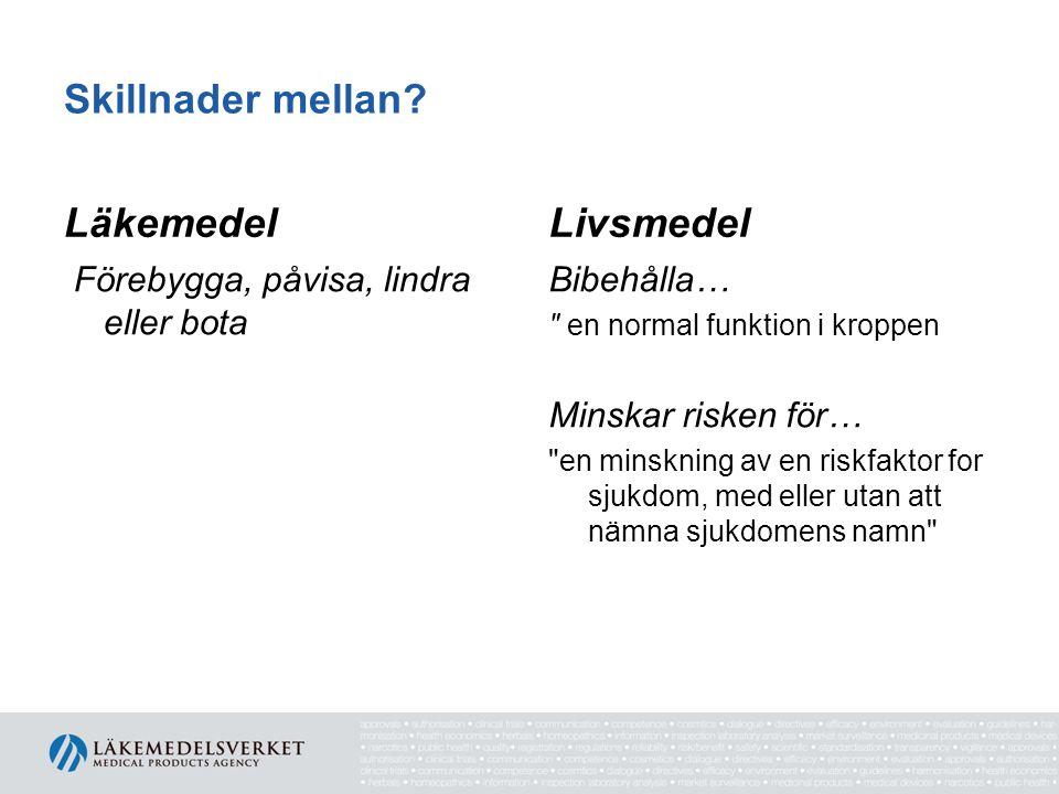 Skillnader mellan Läkemedel Livsmedel
