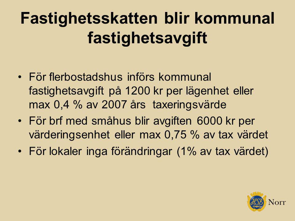 Fastighetsskatten blir kommunal fastighetsavgift
