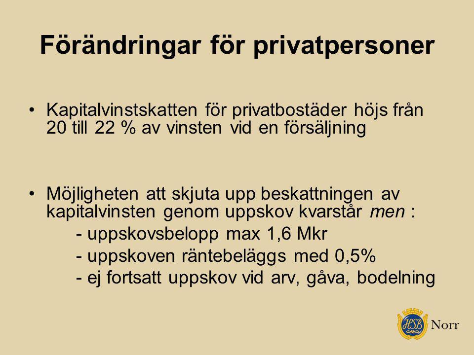 Förändringar för privatpersoner