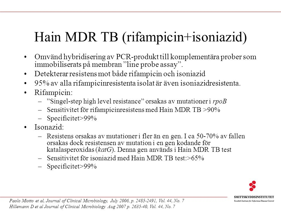 Hain MDR TB (rifampicin+isoniazid)