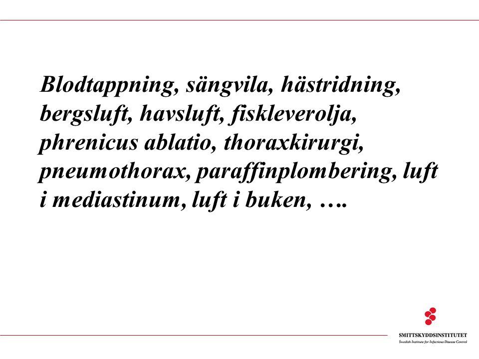 Blodtappning, sängvila, hästridning, bergsluft, havsluft, fiskleverolja, phrenicus ablatio, thoraxkirurgi, pneumothorax, paraffinplombering, luft i mediastinum, luft i buken, ….