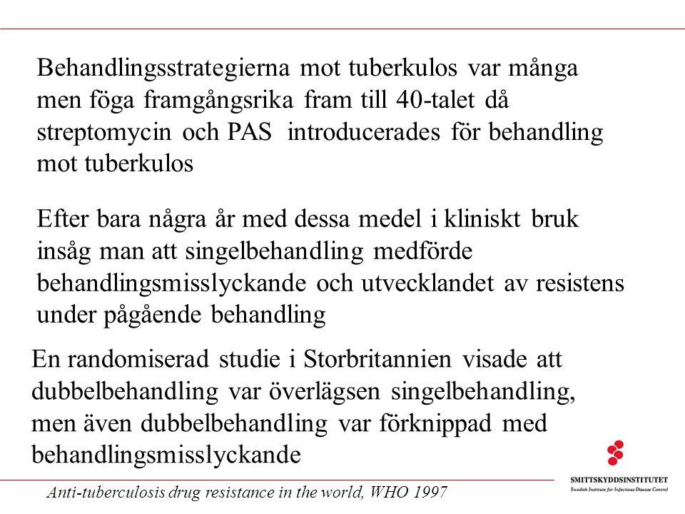 Behandlingsstrategierna mot tuberkulos var många men föga framgångsrika fram till 40-talet då streptomycin och PAS introducerades för behandling mot tuberkulos