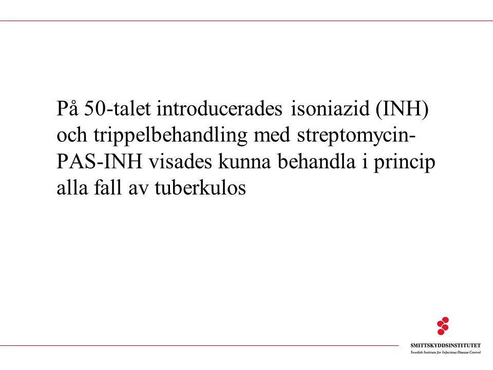 På 50-talet introducerades isoniazid (INH) och trippelbehandling med streptomycin-PAS-INH visades kunna behandla i princip alla fall av tuberkulos